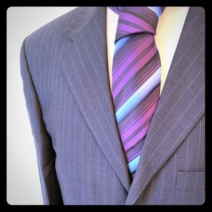 Ted Baker Navy and Violet pinstripe suit